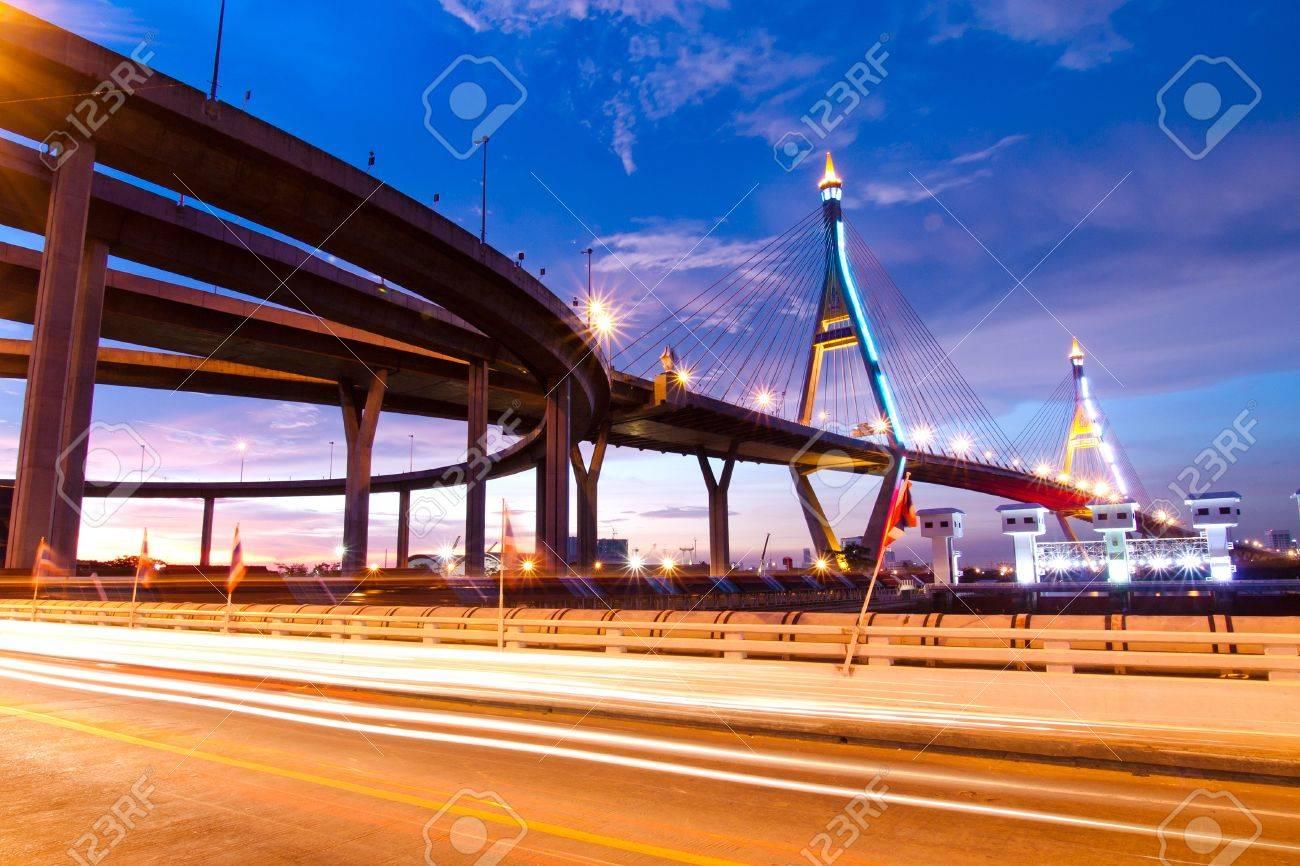 Bhumibol Bridge, The Industrial Ring Road Bridge in Bangkok  Long Exposure at night  public transportation bridge no trademark Stock Photo - 13830242