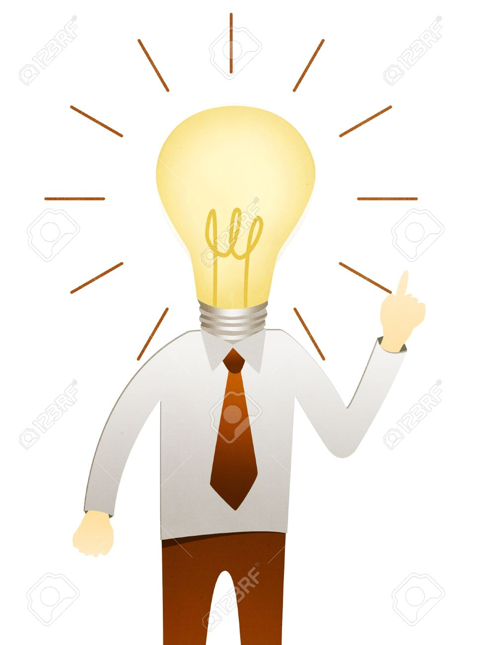 Business Man With Head Idea Lightbulb Stock Photo, Picture And ... for Idea Light Bulb Over Head  111bof