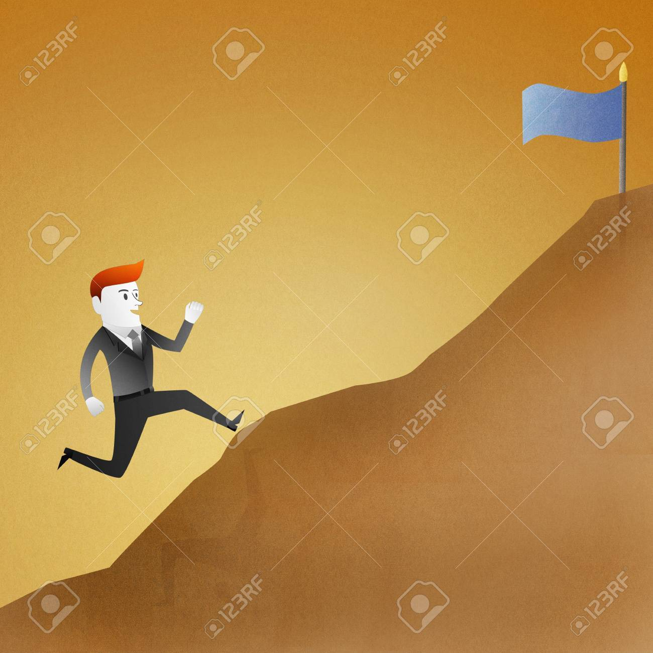 Conceptual image - Business man go running up mountain represent themes involving success Stock Photo - 14696726