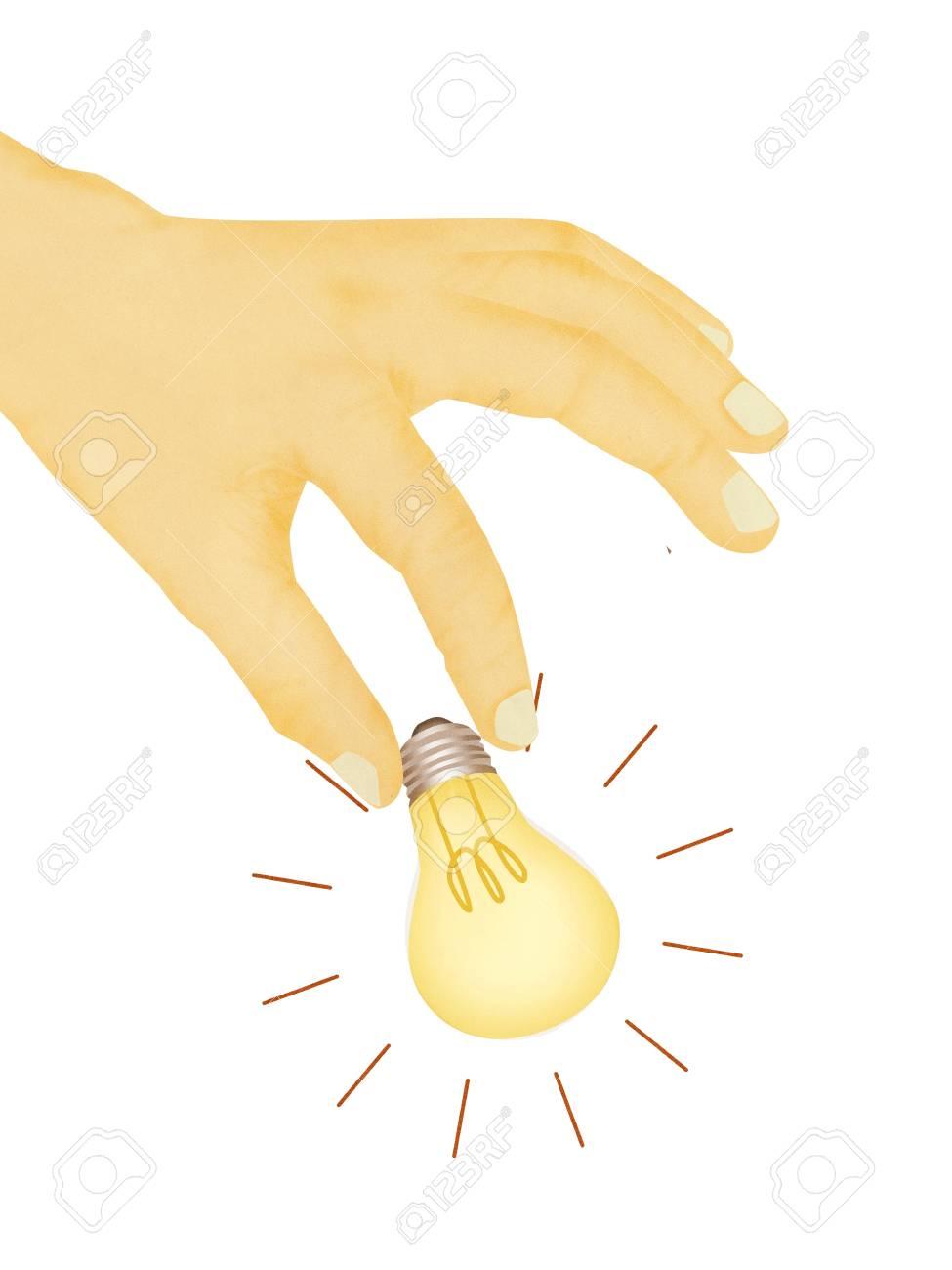 Paper texture ,  illustration of hand picking light bulb Stock Illustration - 14696675