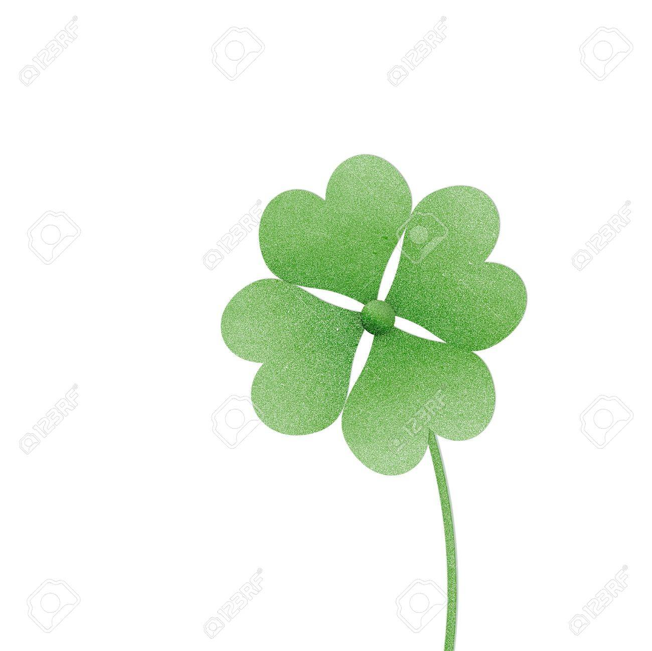 recycle paper clover with four leaves on white background Stock Photo - 15360286