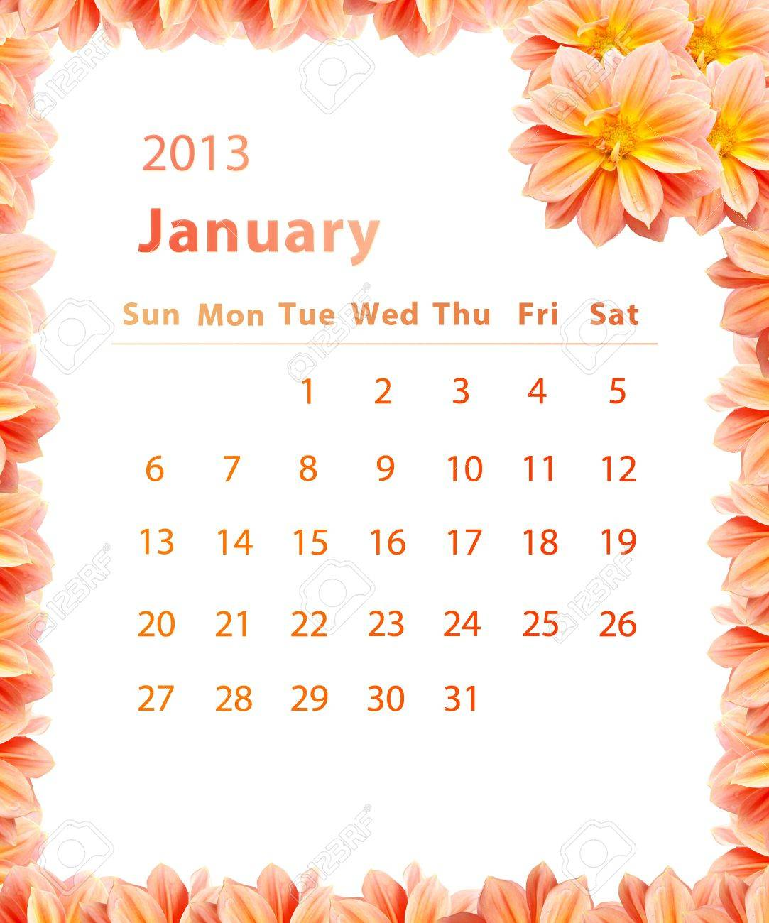 2013 year calendar january with pink flower frame design stock