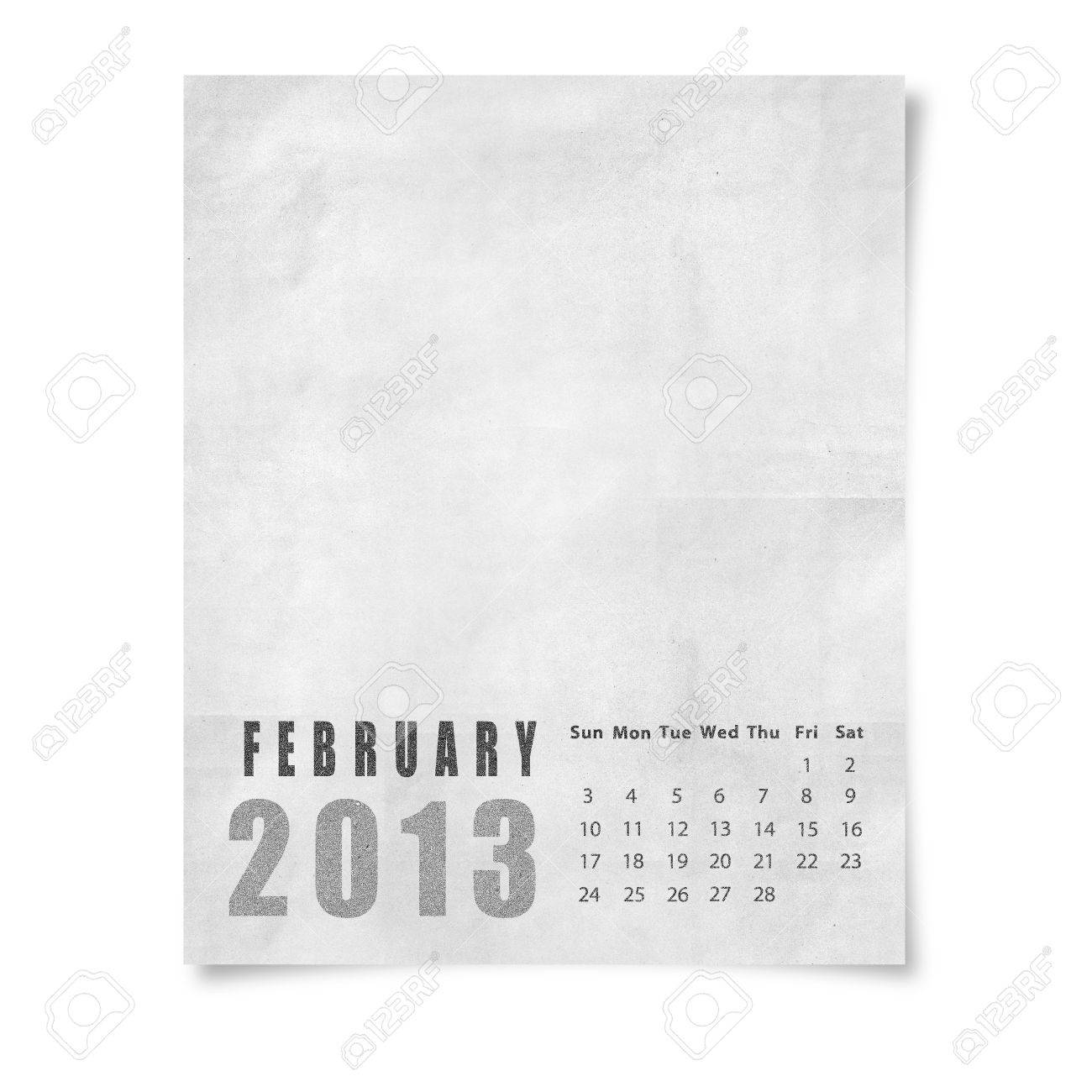 2013 year calendar February on paper Stock Photo - 15588880