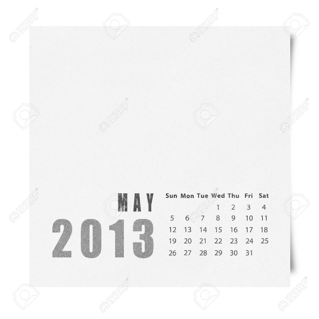 2013 year calendar may on recycle paper stock photo picture and