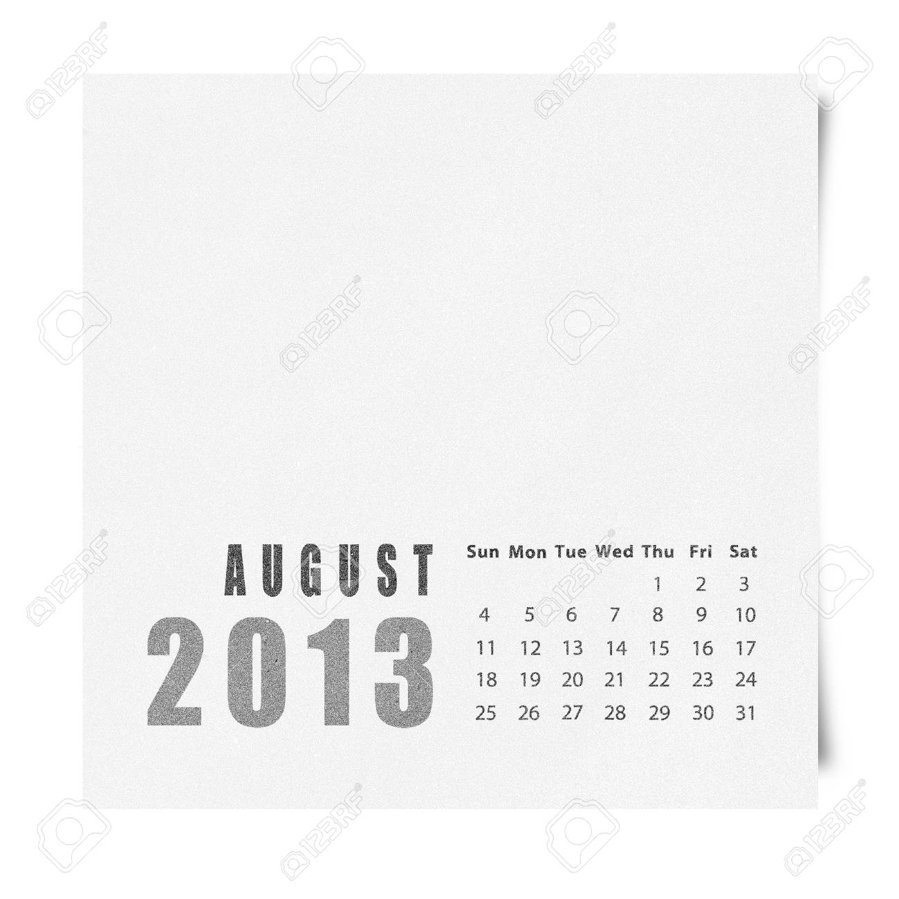 2013 year calendar August on recycle paper Stock Photo - 16676625