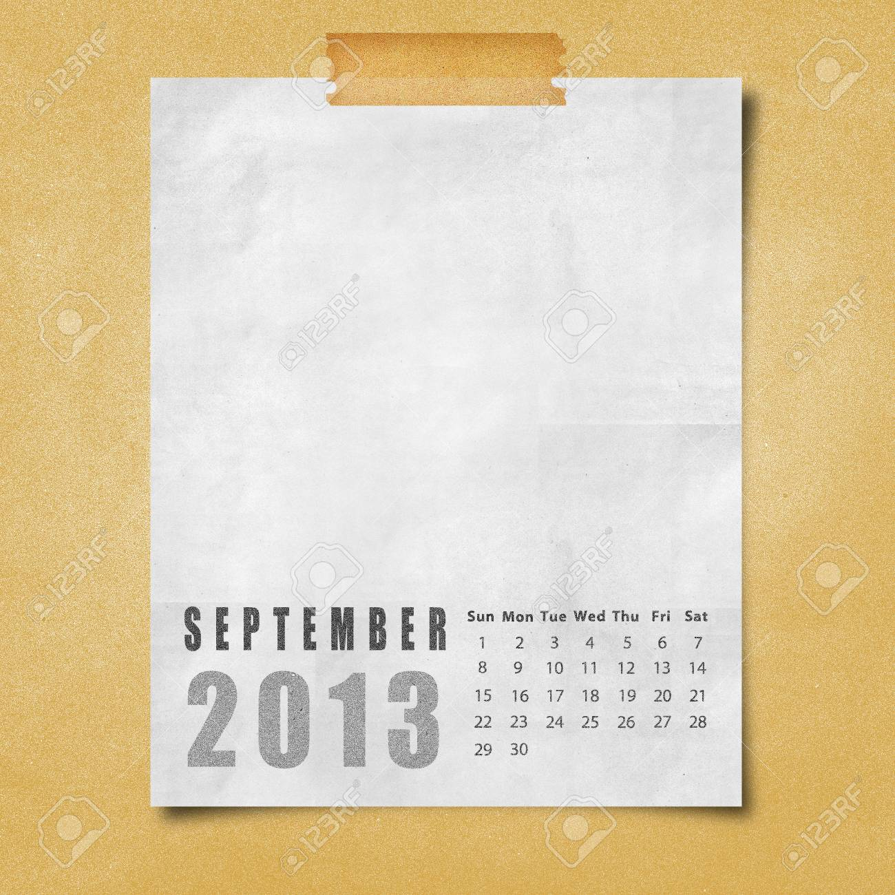 2013 year calendar September on paper board background Stock Photo - 16676870