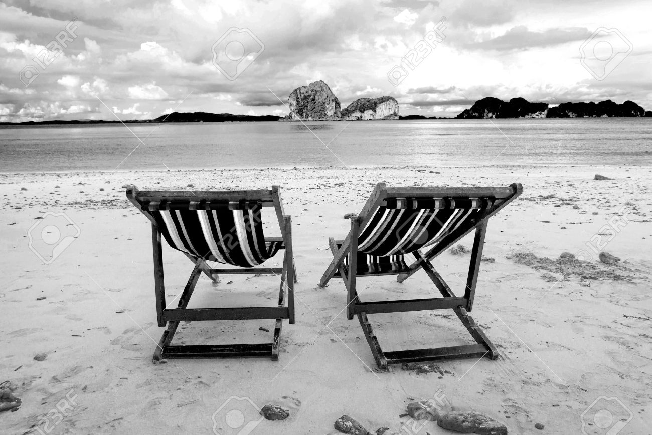 Beach Chairs And Beautiful Beach On Black And White Tone Stock Photo Picture And Royalty Free Image Image 23362861