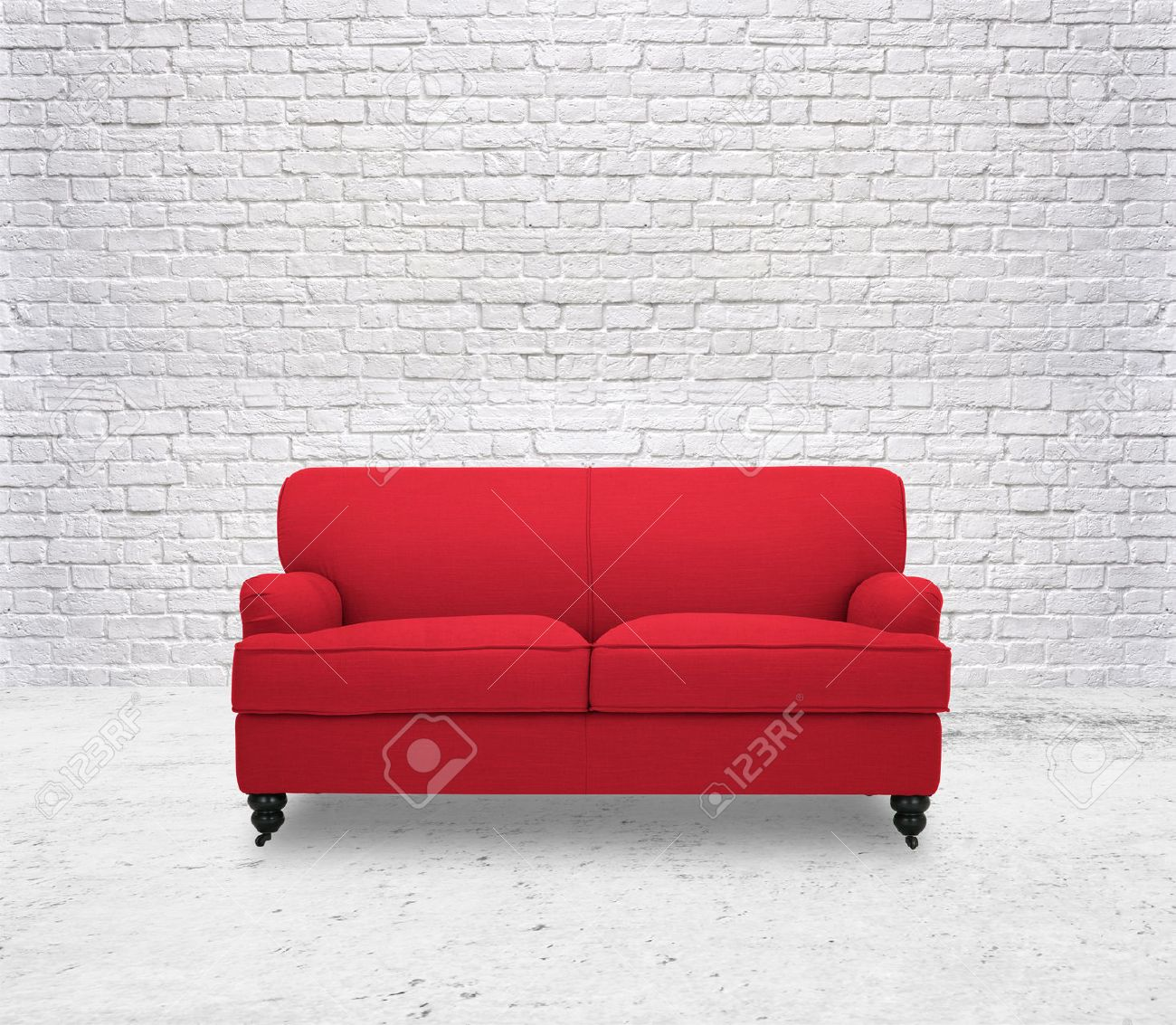 Modern Red Sofa In White Room Brick Wall Stock Photo, Picture And ...