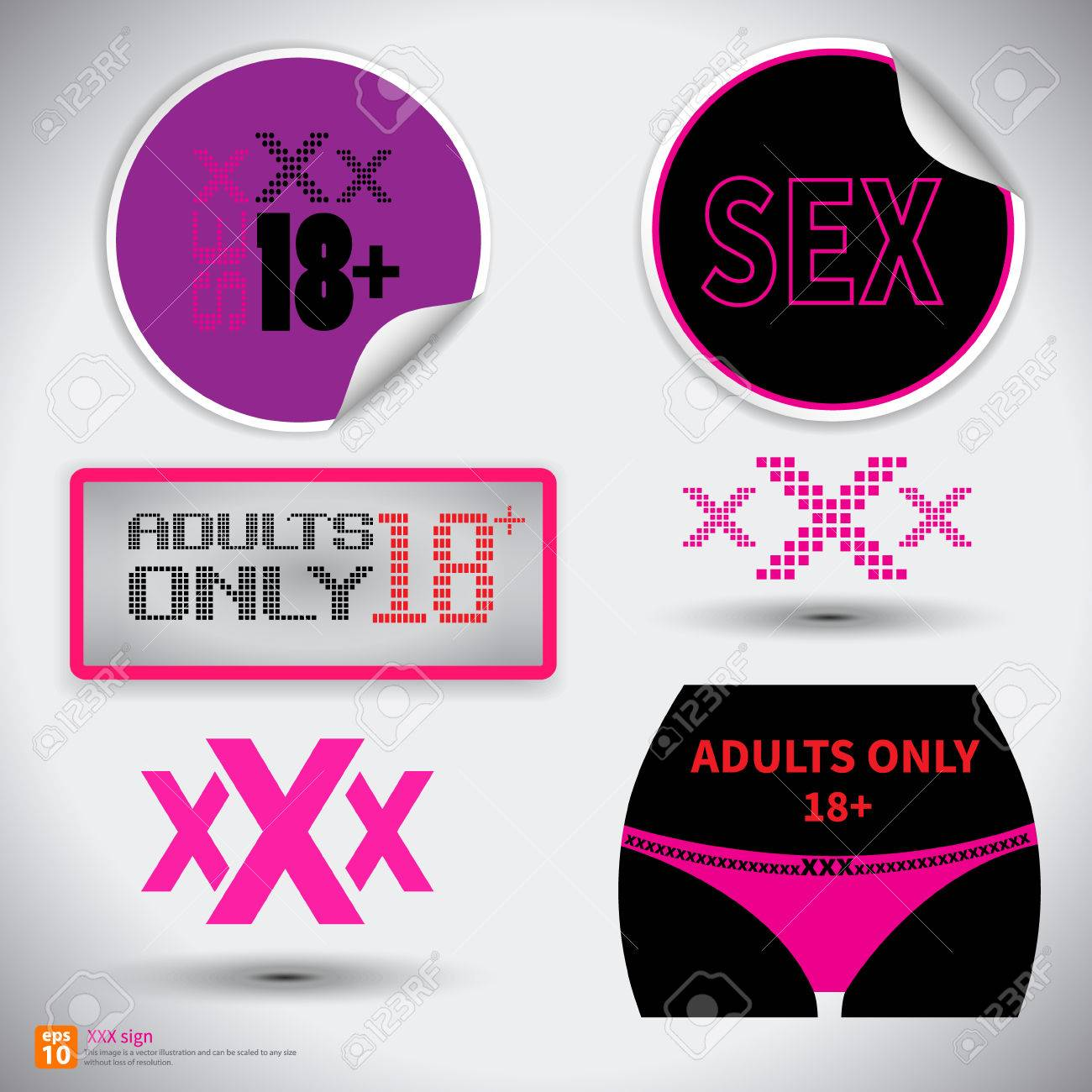 Xxx Sign Icon Adults Only Content Symbol Sex Sticker With Shadow