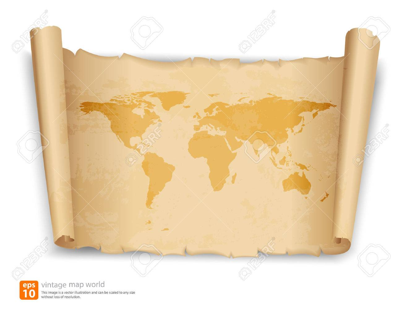 World map on vintage scroll paper vector format royalty free world map on vintage scroll paper vector format stock vector 33879268 gumiabroncs Gallery