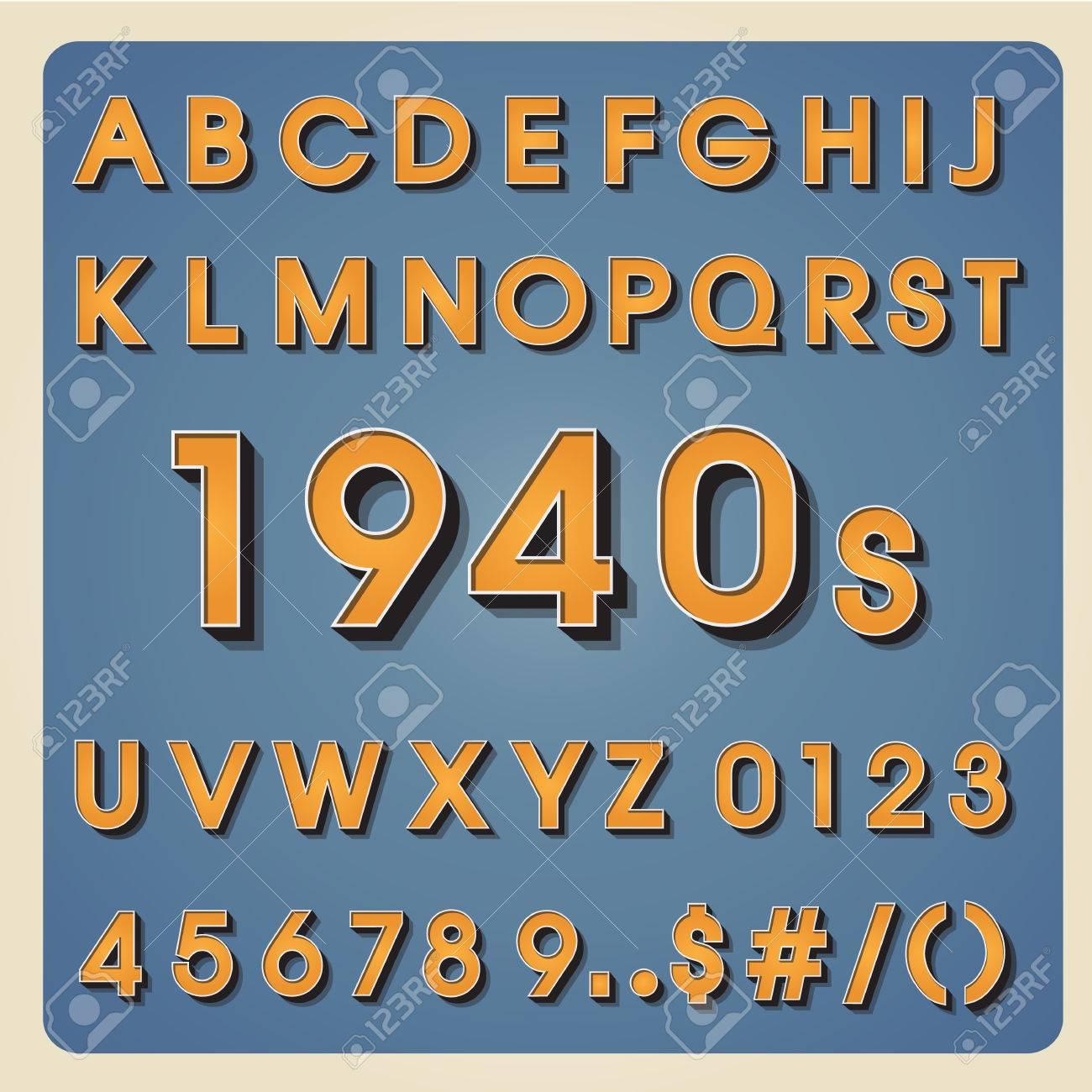 Vintage Alphabet Retro Type Font 3d Letters Typography For