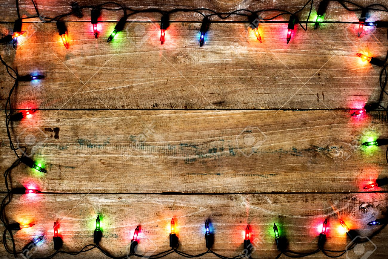 Christmas Colorful Light Background Rustic Wood Texture And Free Text Space Stock Photo
