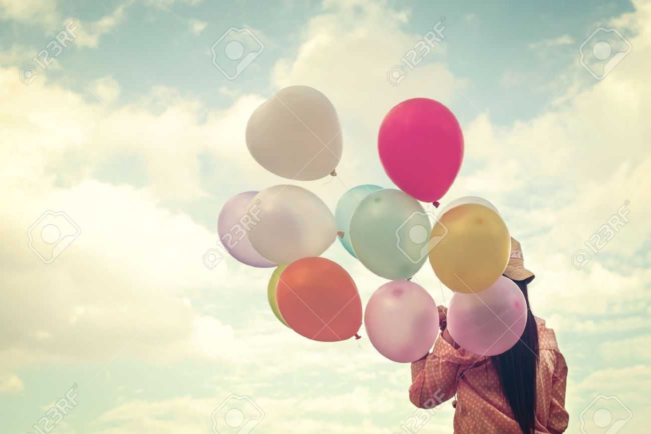 Happy Summer Young Girl With Colorful Balloons stock photo ...