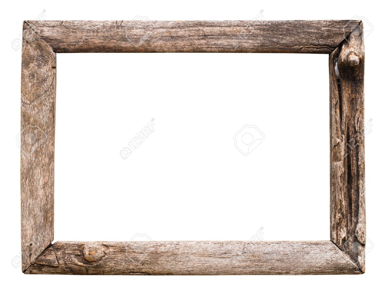 Old Wood Picture Frame Isolate On White Stock Photo, Picture And ...