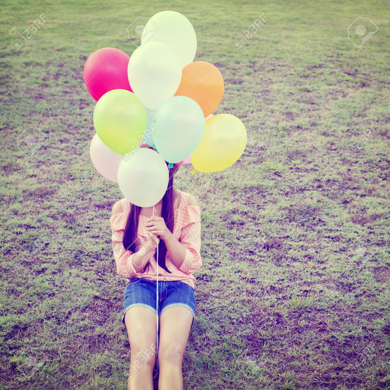 Happy Little Girl Bunch Colorful Balloons Stock Photo 268812080 ...