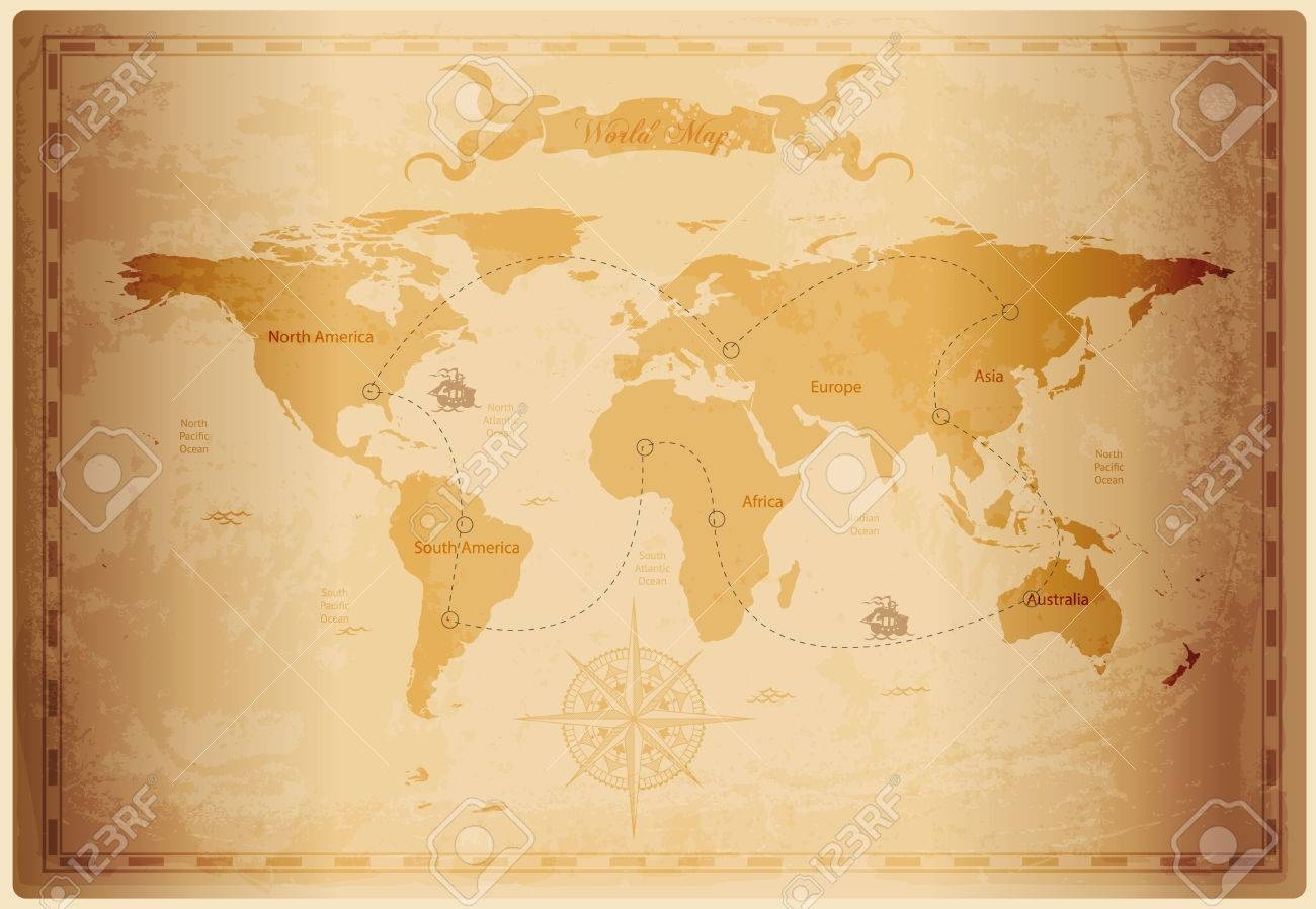 Old world map with vintage paper texture vector format royalty free old world map with vintage paper texture vector format stock vector 37846196 gumiabroncs Gallery