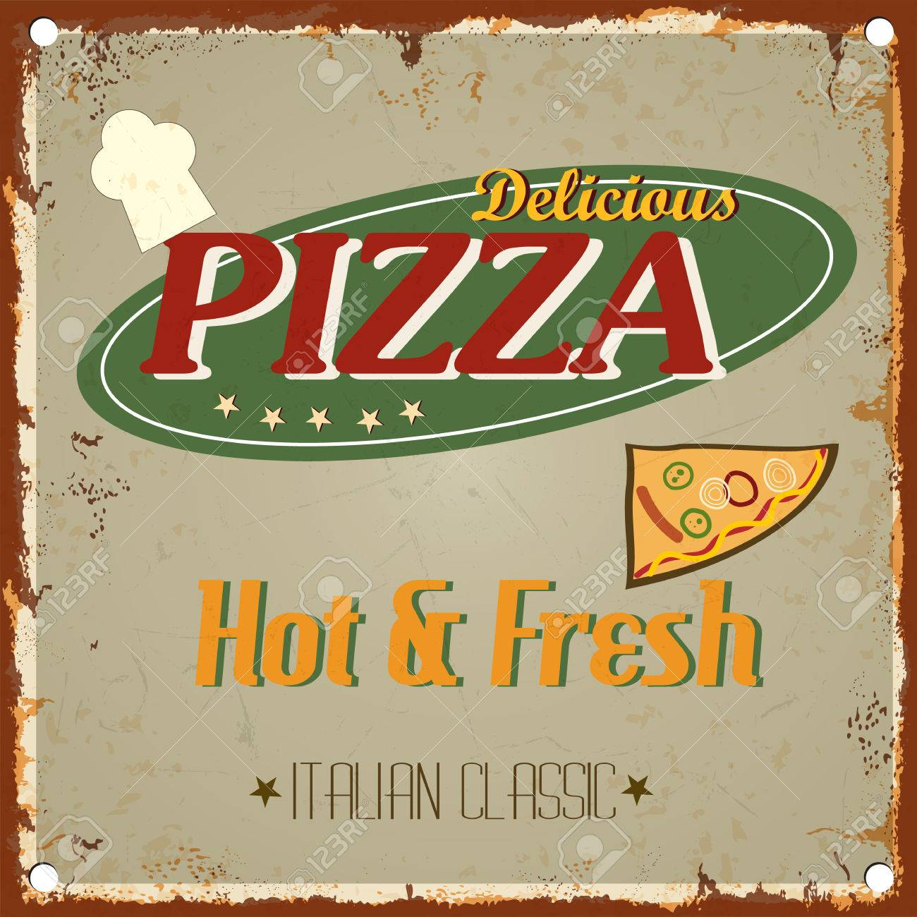 Vintage Metal Pizza Sign Retro Type Font Poster Vector EPS10