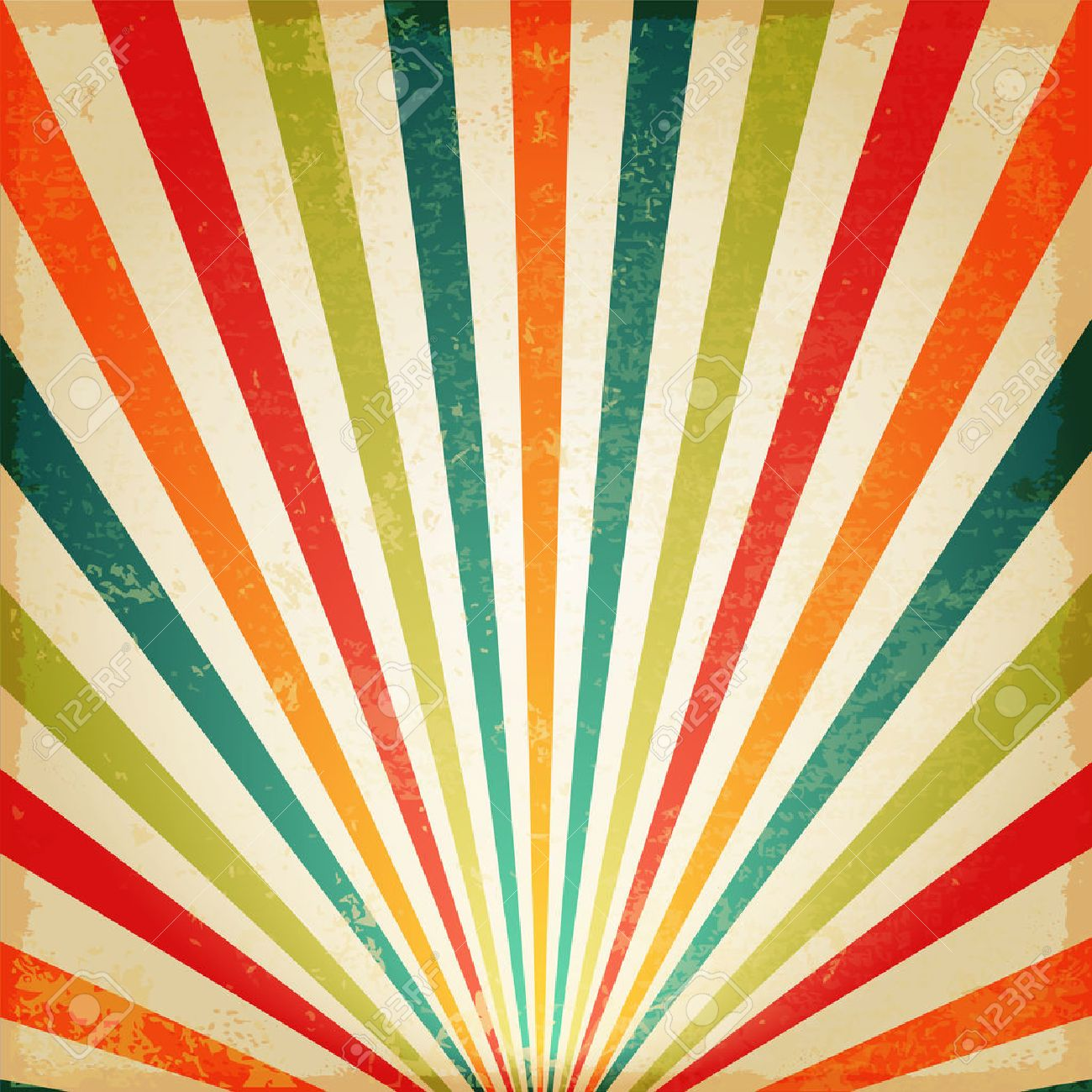 new vintage multicolor rising sun or sun raysun burst retro background design stock vector