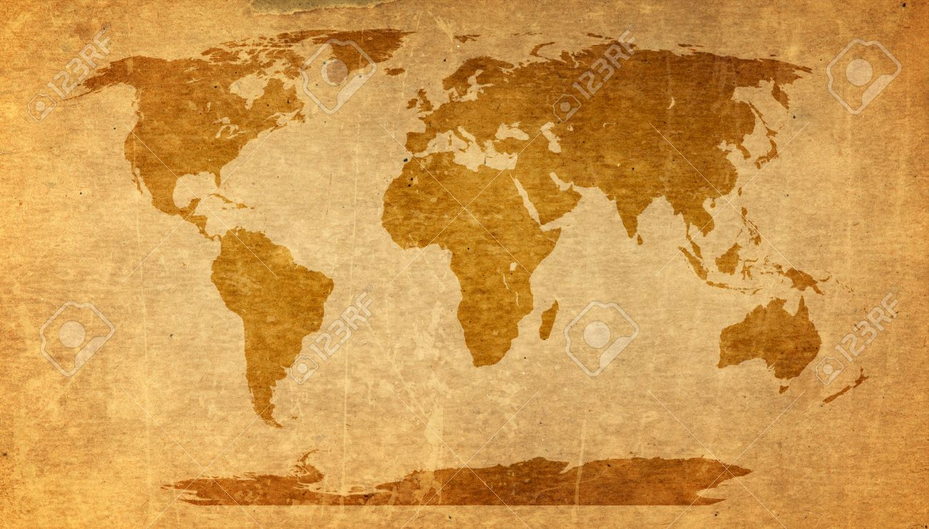 World Map On Old Paper Texture   Brown Paper Sheet. Stock Photo