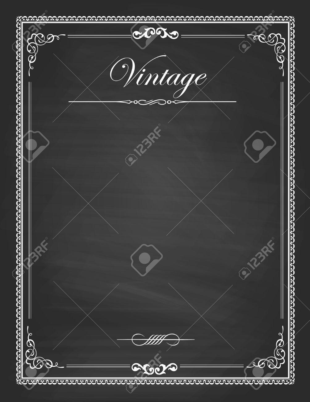 vector vintage frames blank black chalkboard design