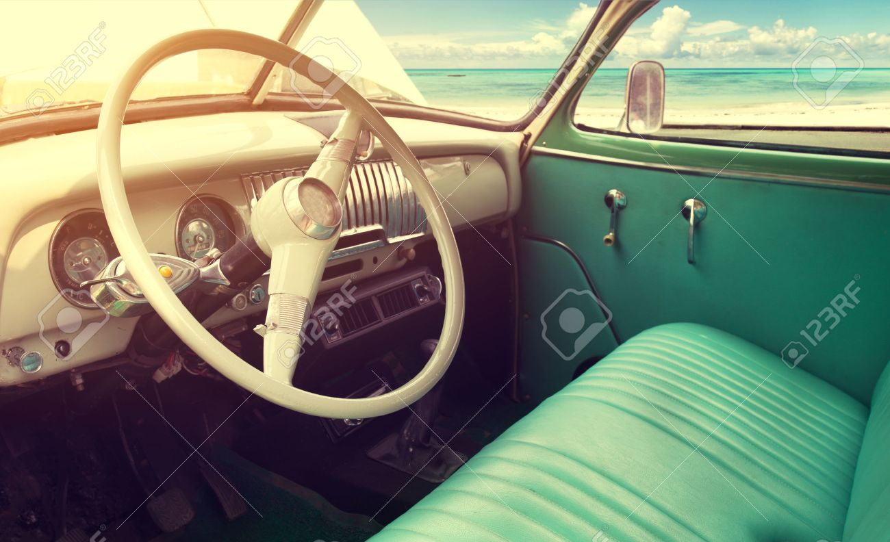 Interior of classic vintage car -parked seaside in summer - 50571539