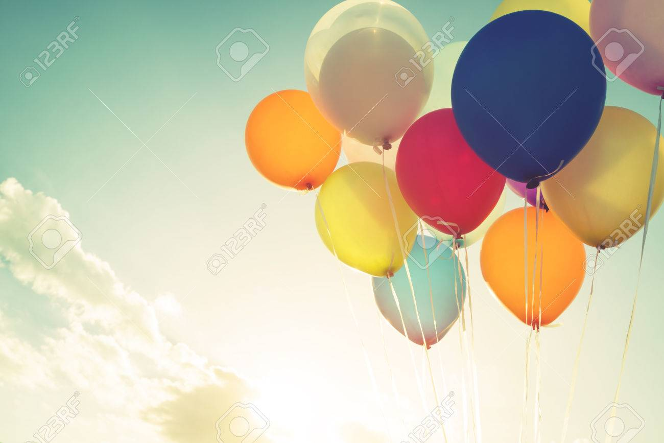 Vintage multicolor balloons of birthday party. retro filter effect - 52070117