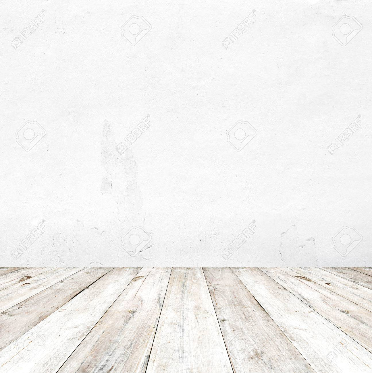 Empty a white interior of vintage room - gray grunge concrete wall and old wood floor. Realistic 3d as perfect background for your concept or project. - 52175172