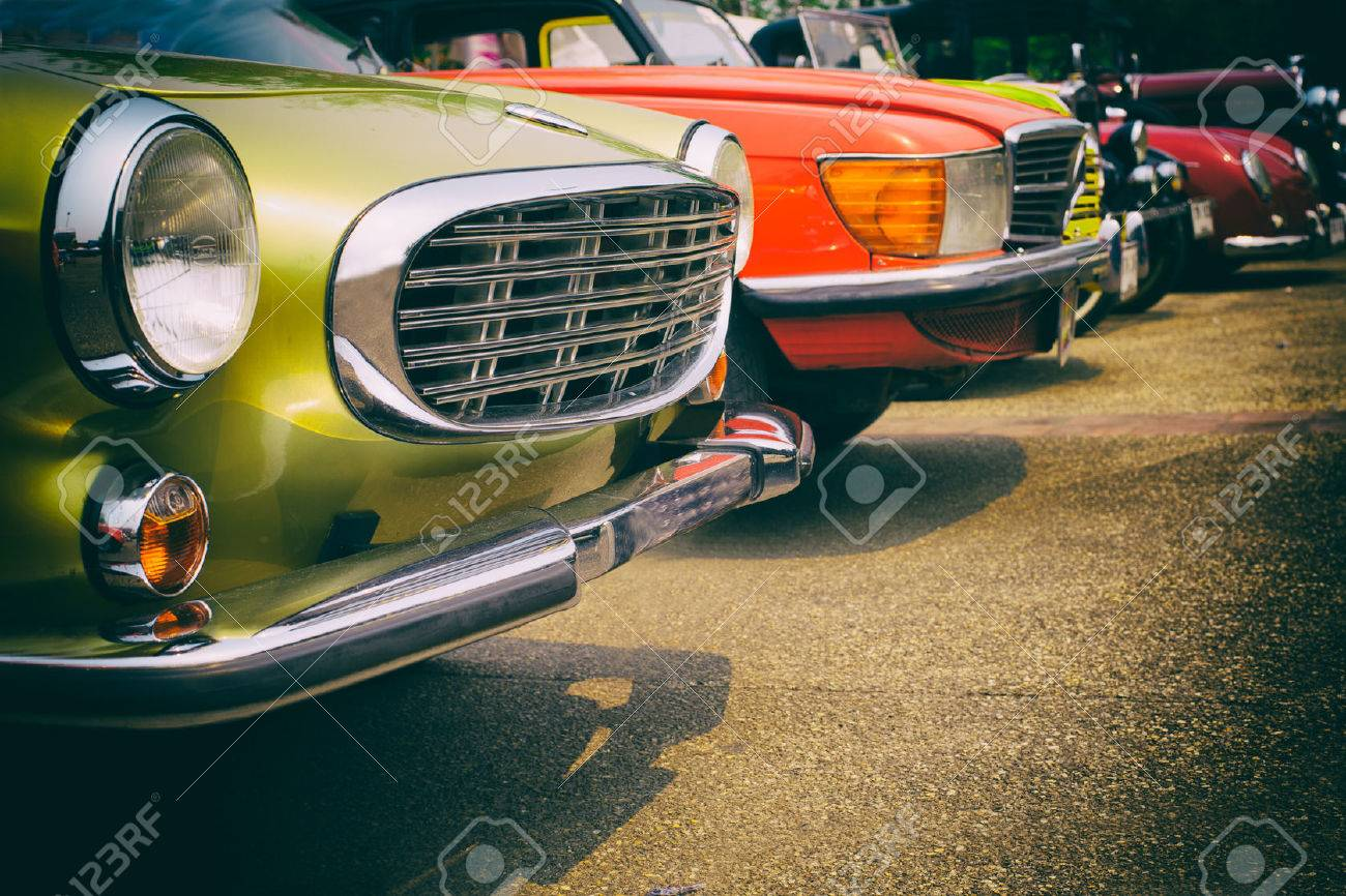 Classic cars in a row - vintage retro color effect style - 57478796