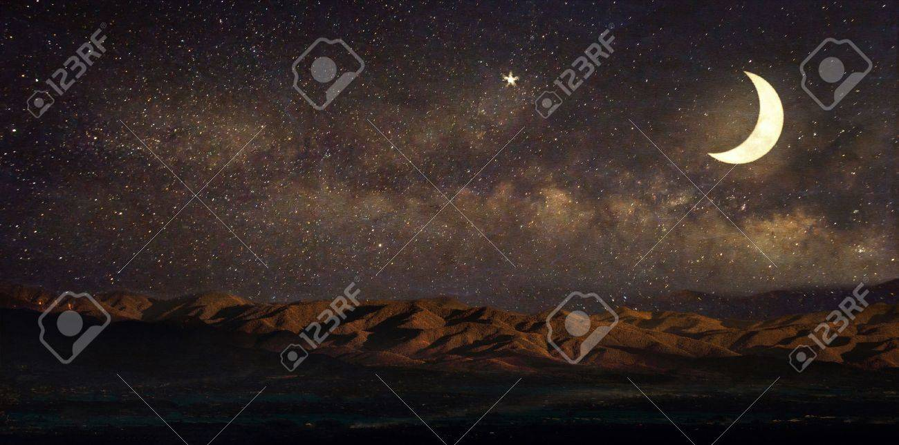 Milky Way star in night sky landscape and moon, stars, Ramadan Kareem celebration - Retro style paper artwork with vintage color tone - 58397756