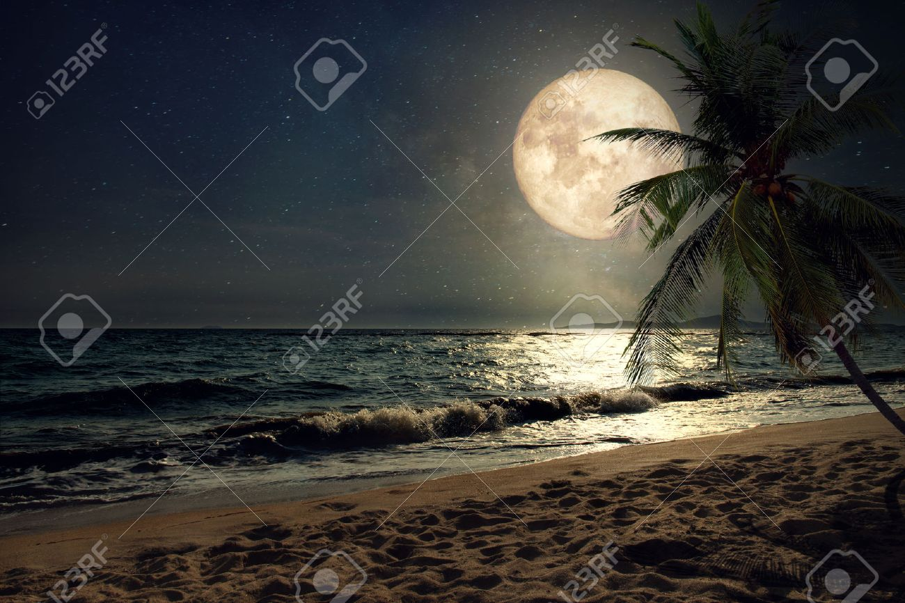 Beautiful fantasy tropical beach with Milky Way star in night skies, full moon - Retro style artwork with vintage color tone (Elements of this moon image furnished by NASA) - 58868819