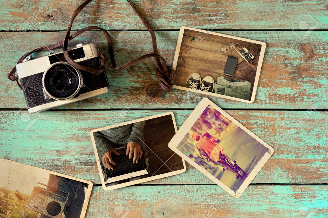 Album Photo Vintage photo album of hipster lifestyle journey trip in summer on wood