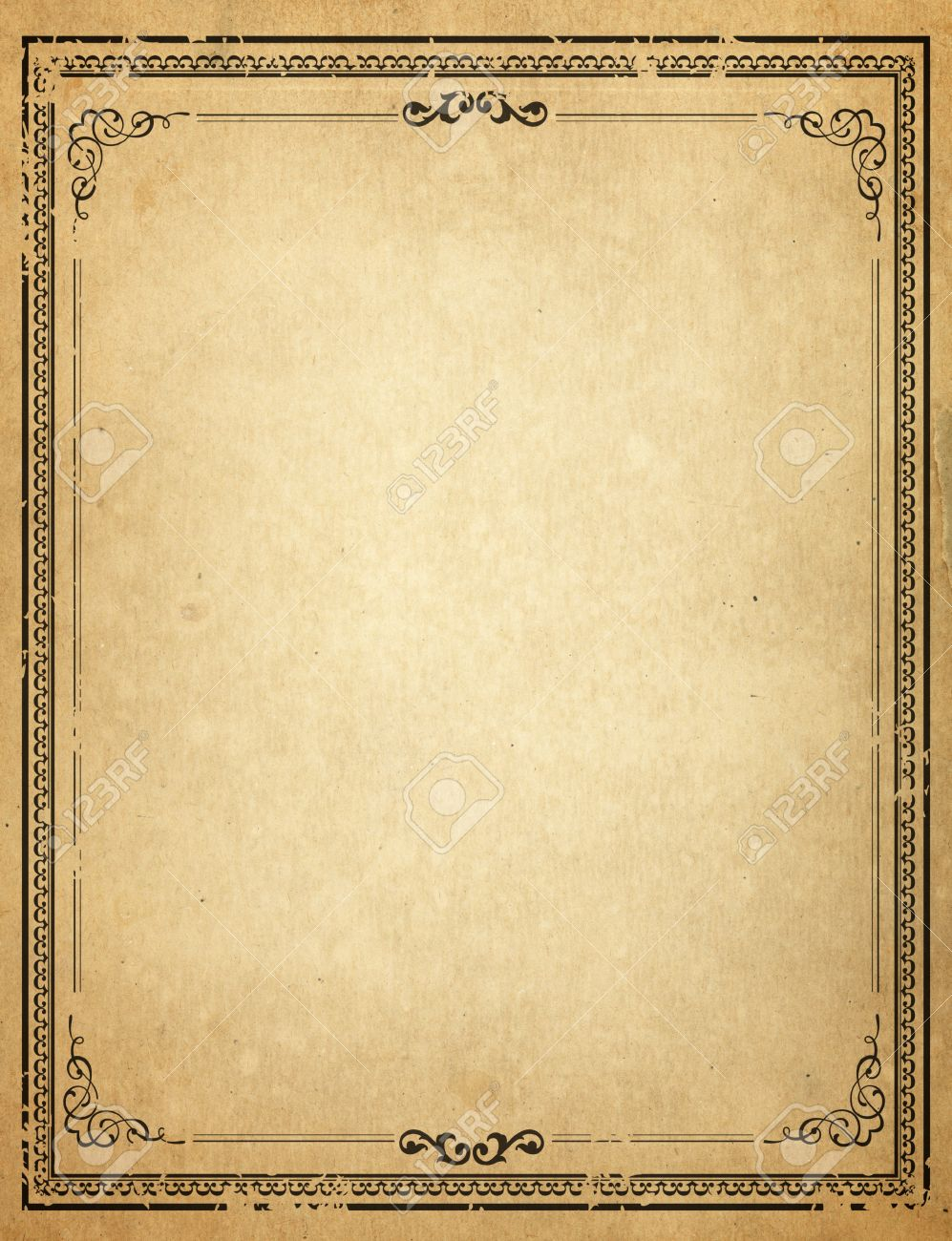 Old Paper With Patterned Vintage Frame - Blank For Your Design Stock ...