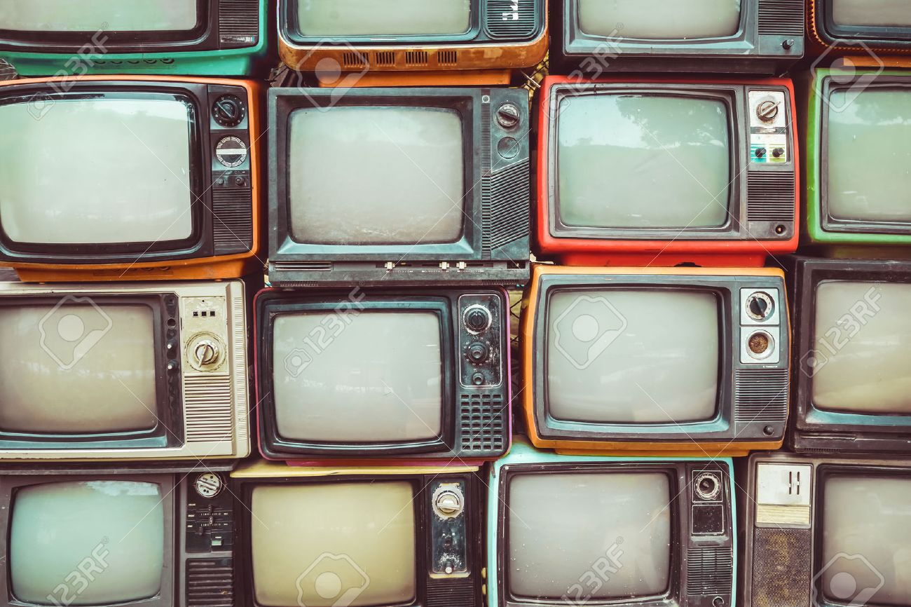 pattern wall of pile colorful retro television tv vintage