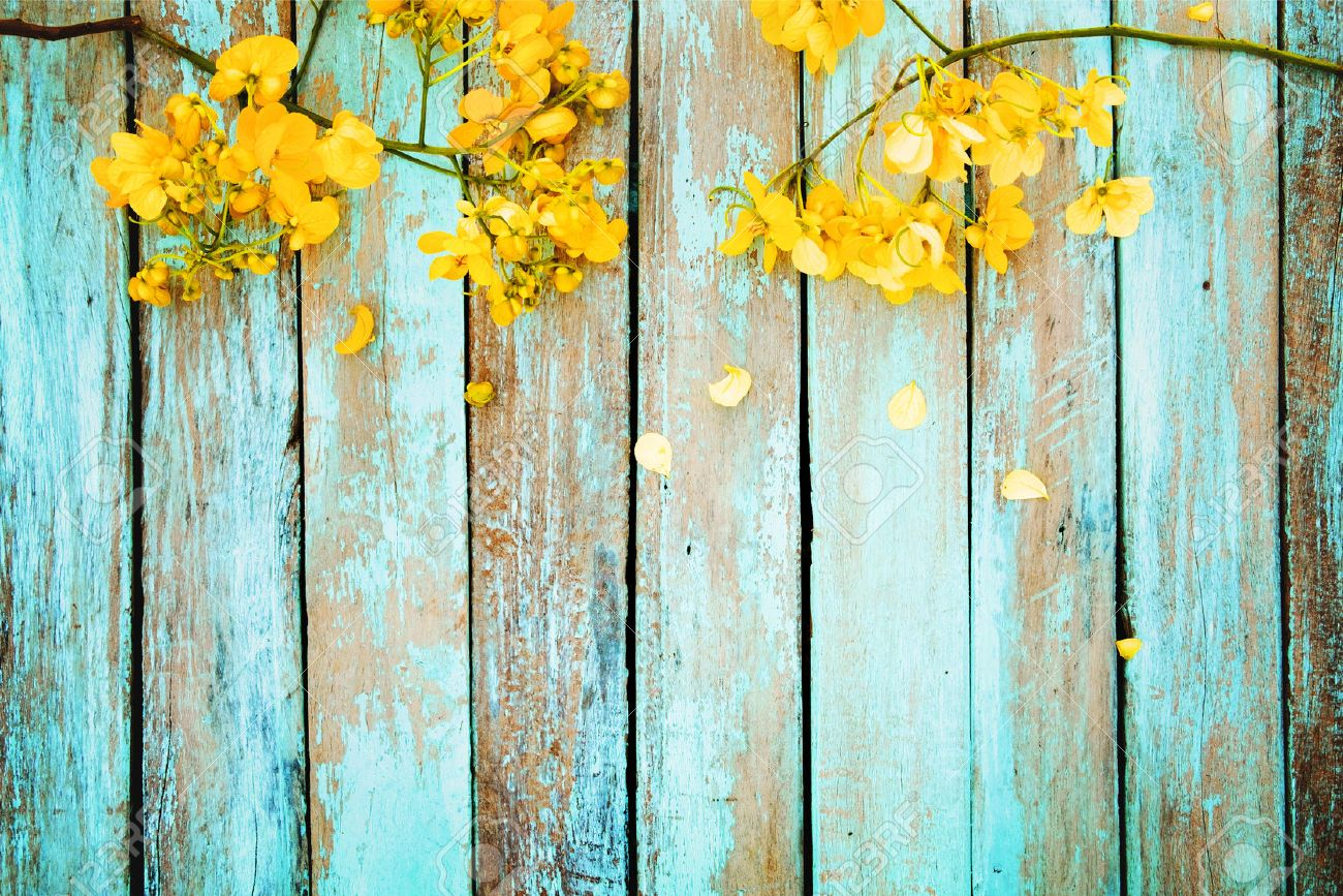 Yellow Flowers On Vintage Wooden Background Border Design Vintage
