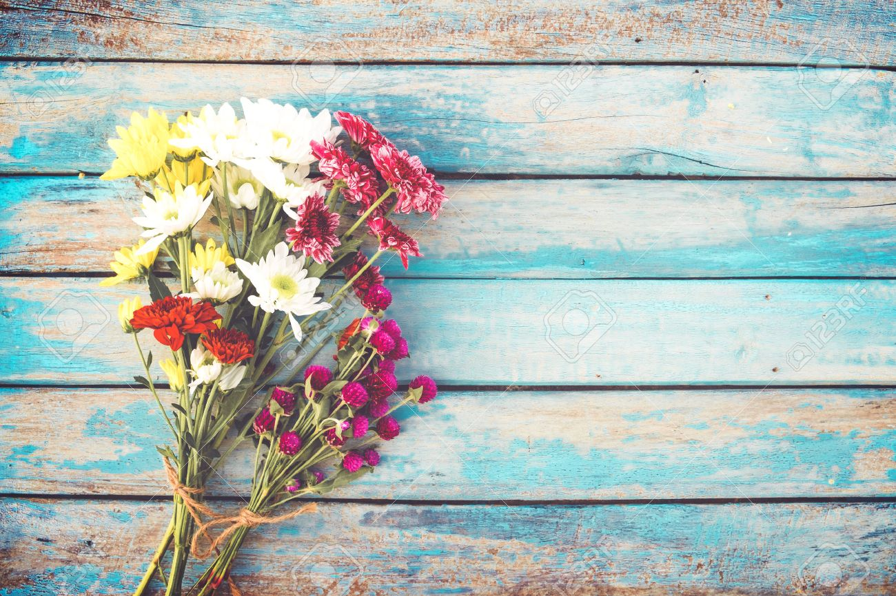 Colorful Flowers Bouquet On Vintage Wooden Background, Border ...