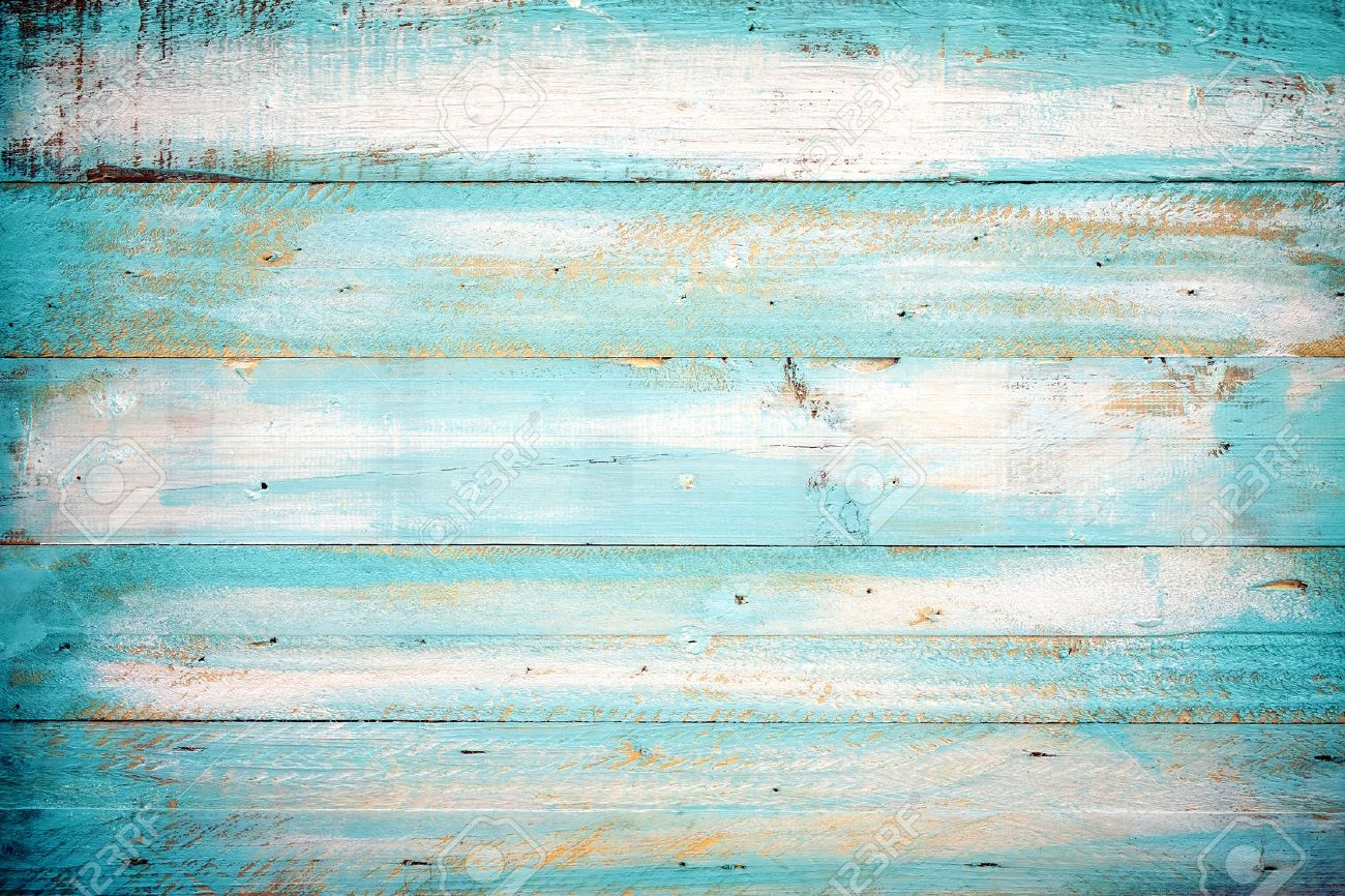 vintage beach wood background - old blue color wooden plank stock