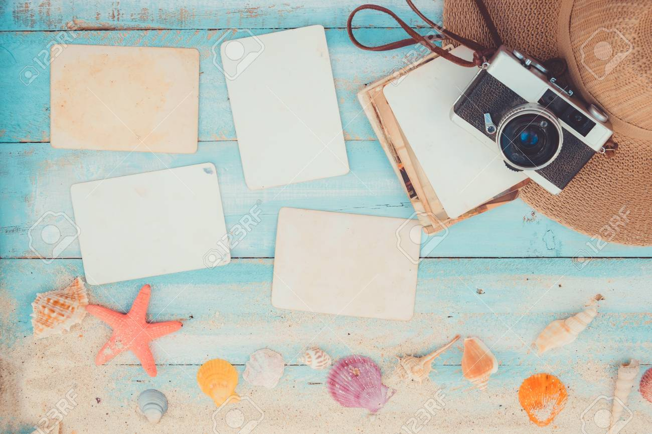 Top View Composition - Blank Paper Photo Frames With Starfish ...