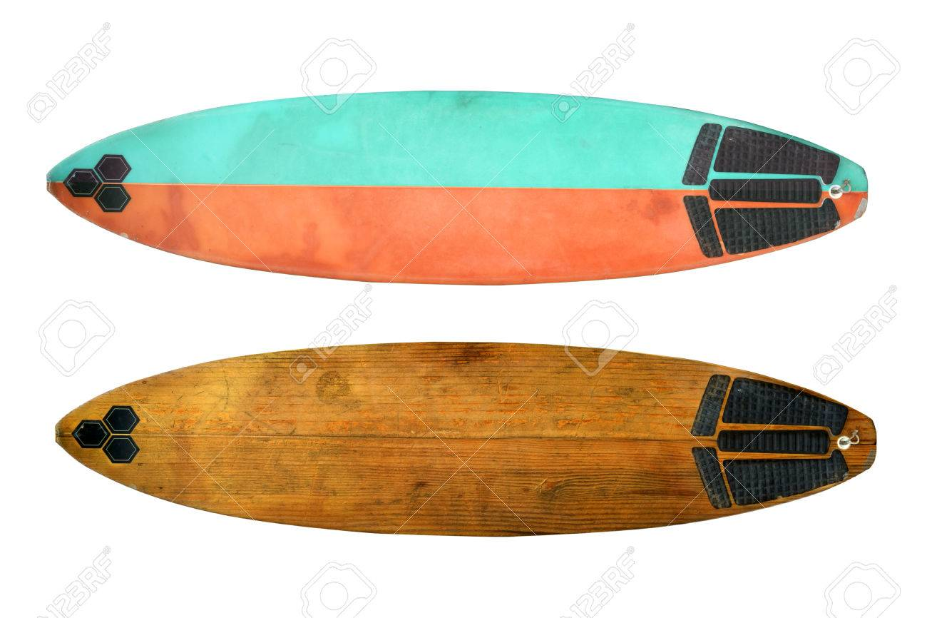 Vintage Surfboard Isolated On White Retro Styles 60 S Stock Photo