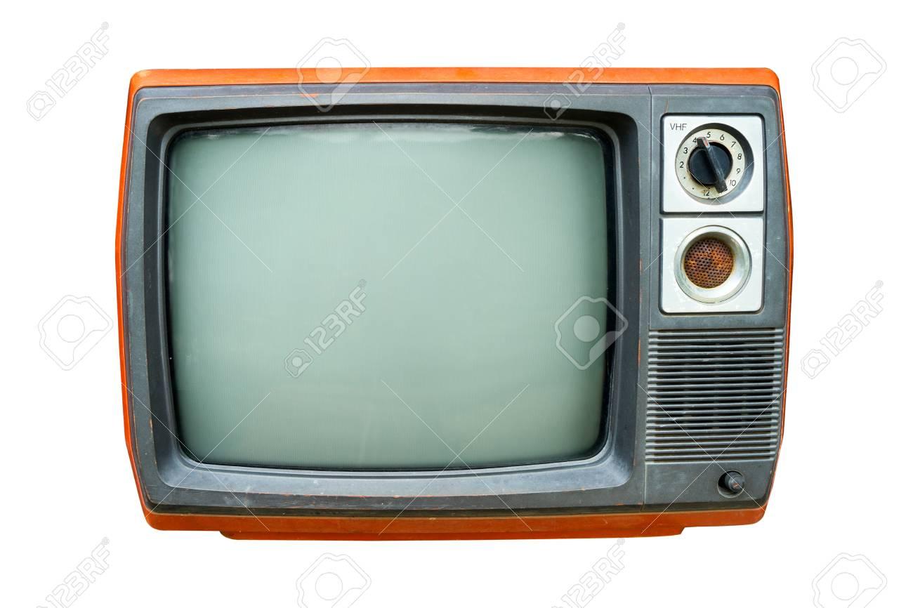 retro television old vintage tv isolate on white retro technology stock photo