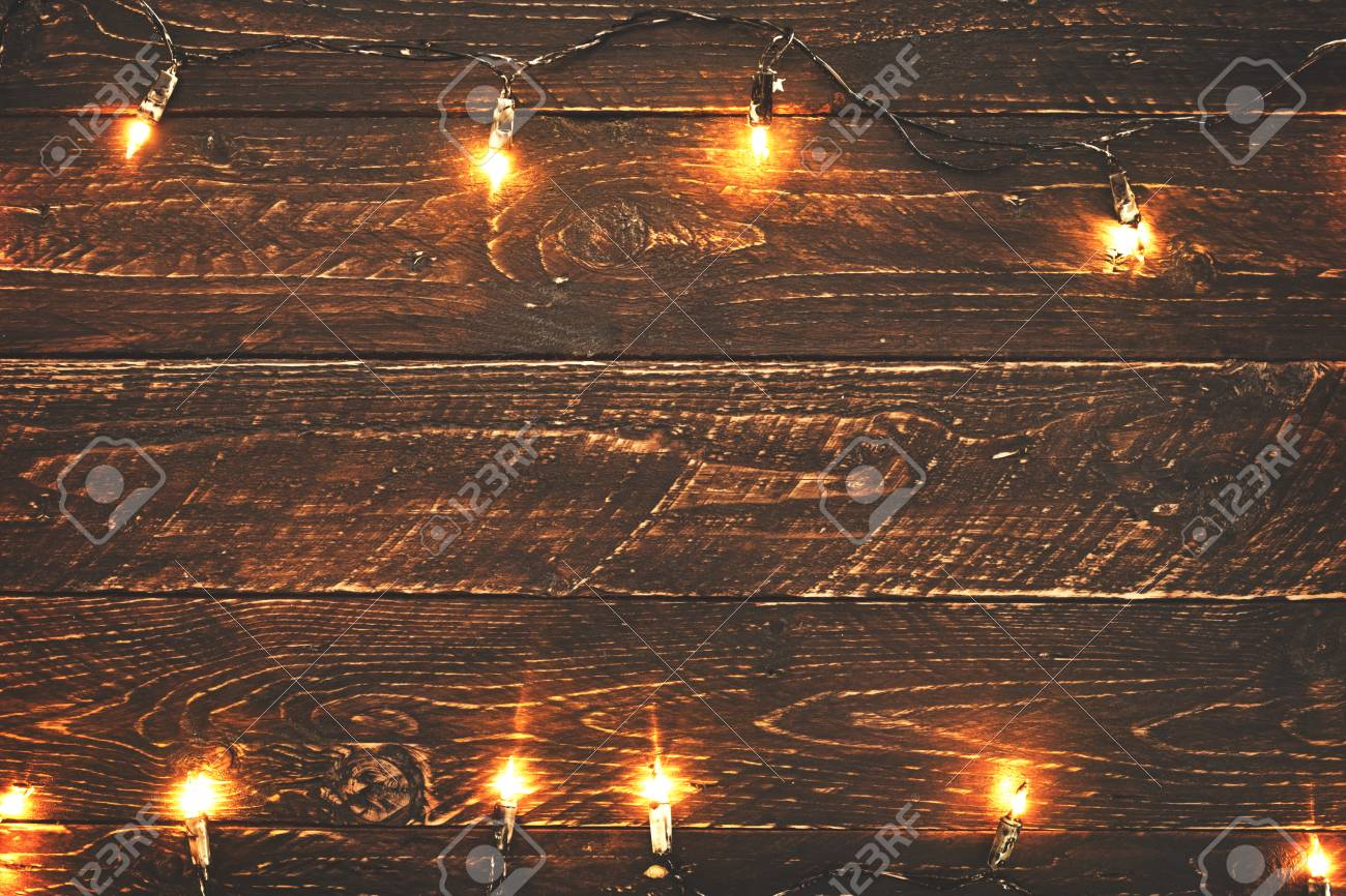 Christmas Lights Bulb On Wood Table Merry Xmas Background Topview