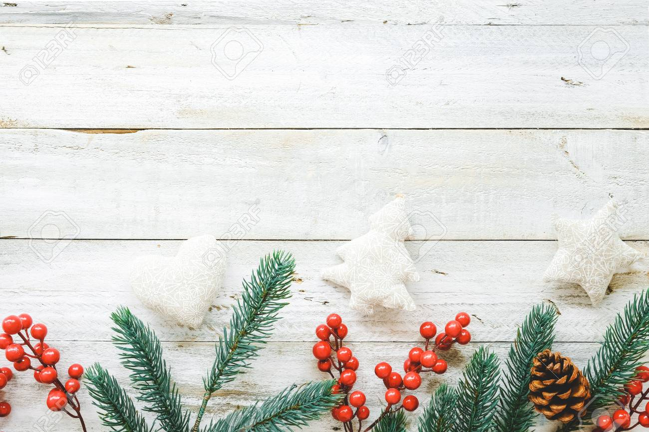 Christmas Theme Background With Decorating Elements And Ornament Rustic On White Wood Table Creative Flat