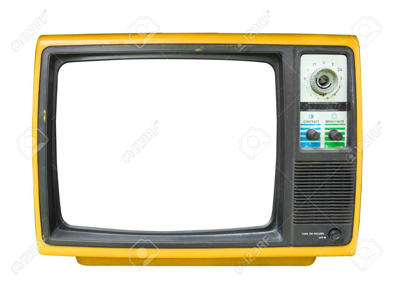 Retro television - old vintage TV with frame screen isolate on white for object, retro technology - 93858118