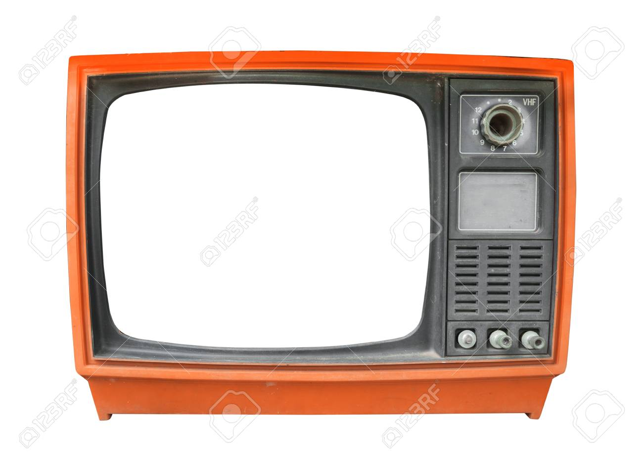 retro television old vintage tv with frame screen isolate on white with clipping path for