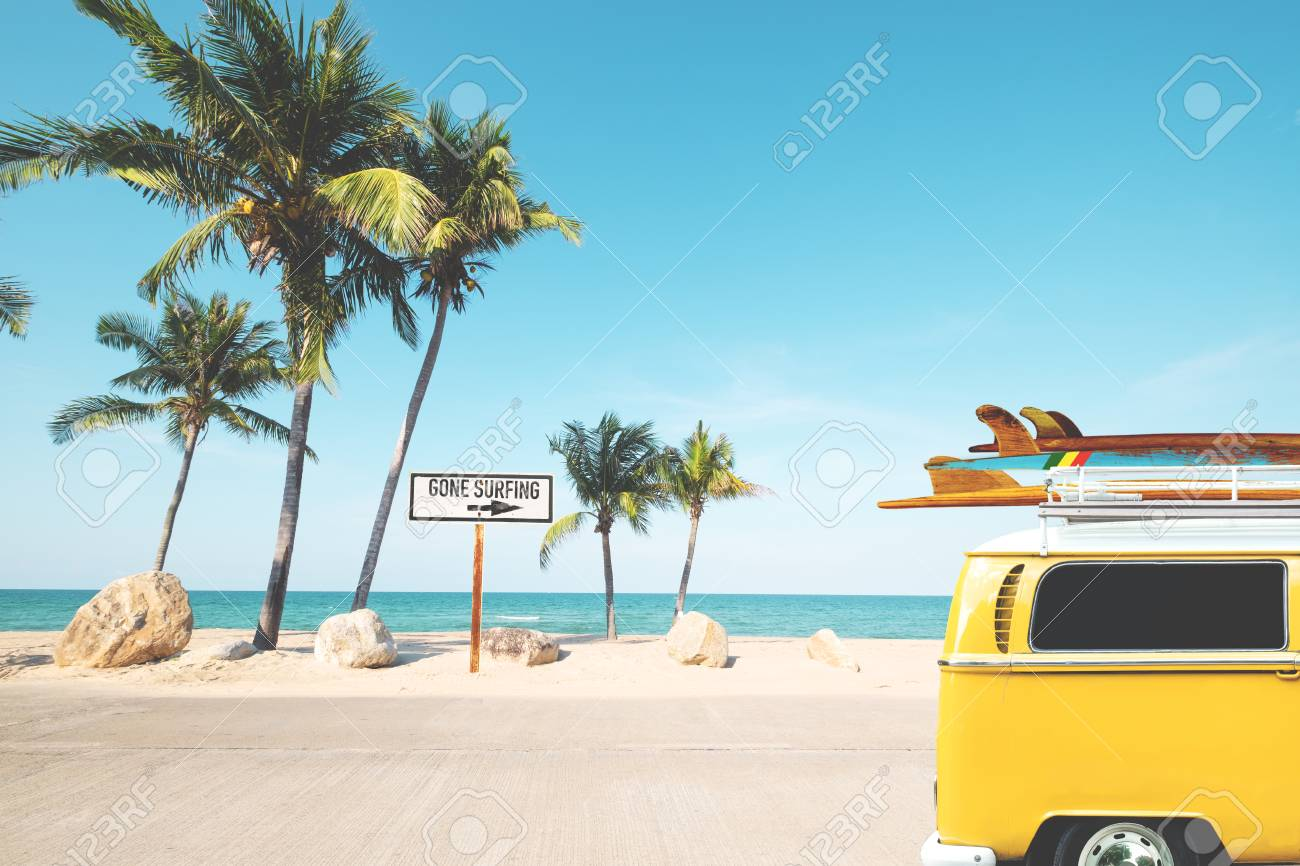 Vintage Car With Surfboard On Roof On Tropical Beach In Summer Stock Photo Picture And Royalty Free Image Image 104450409