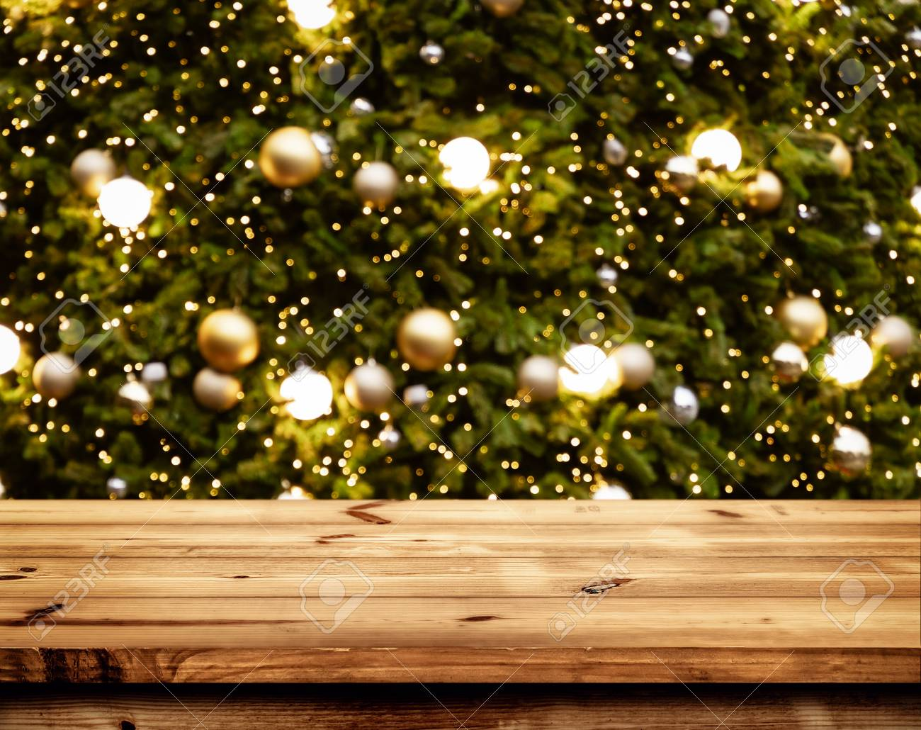Christmas And New Year Background With Empty Wooden Deck Table