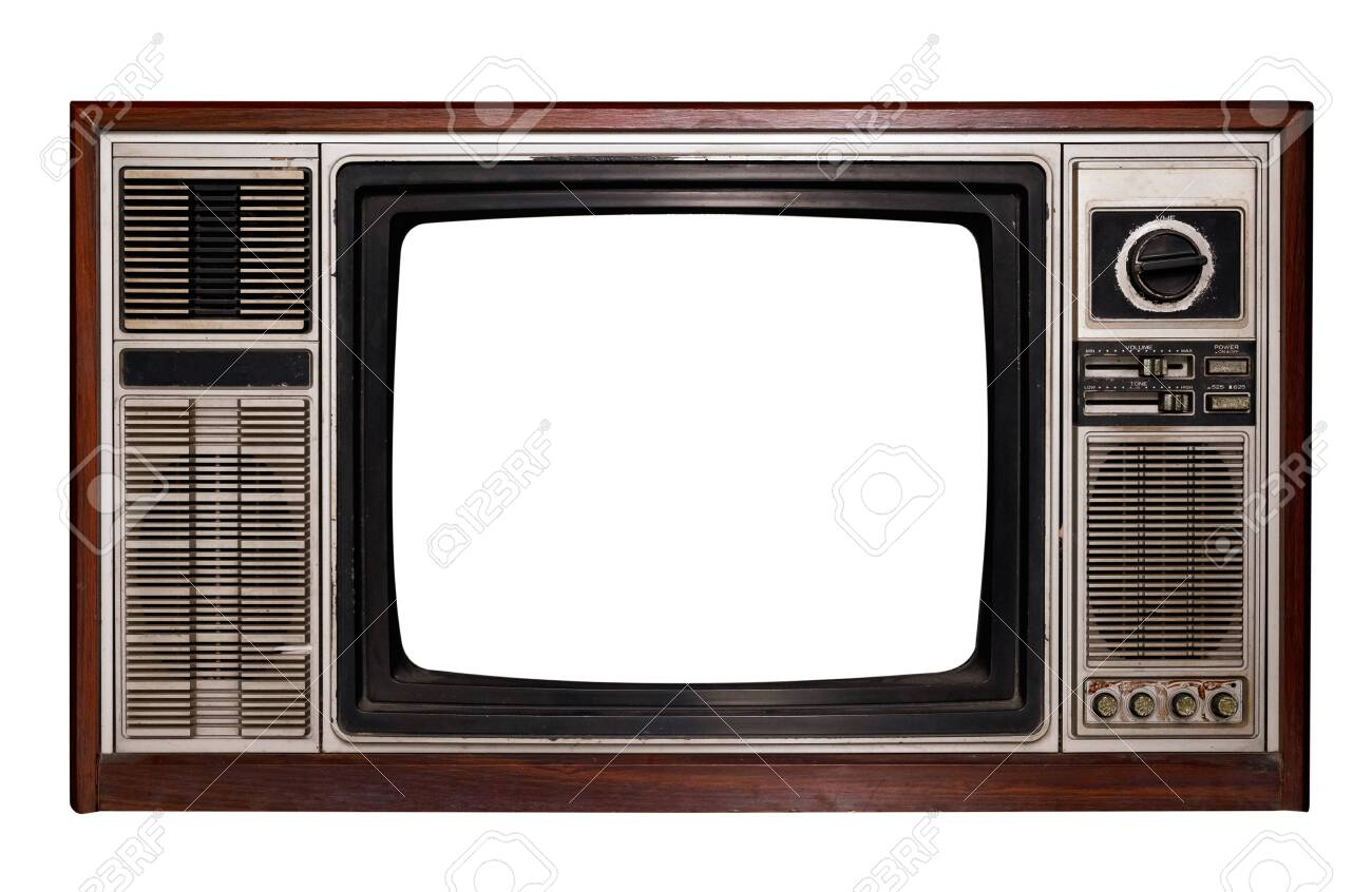 Vintage television - Old TV with frame screen isolate on white with clipping path for object, retro technology - 121634742