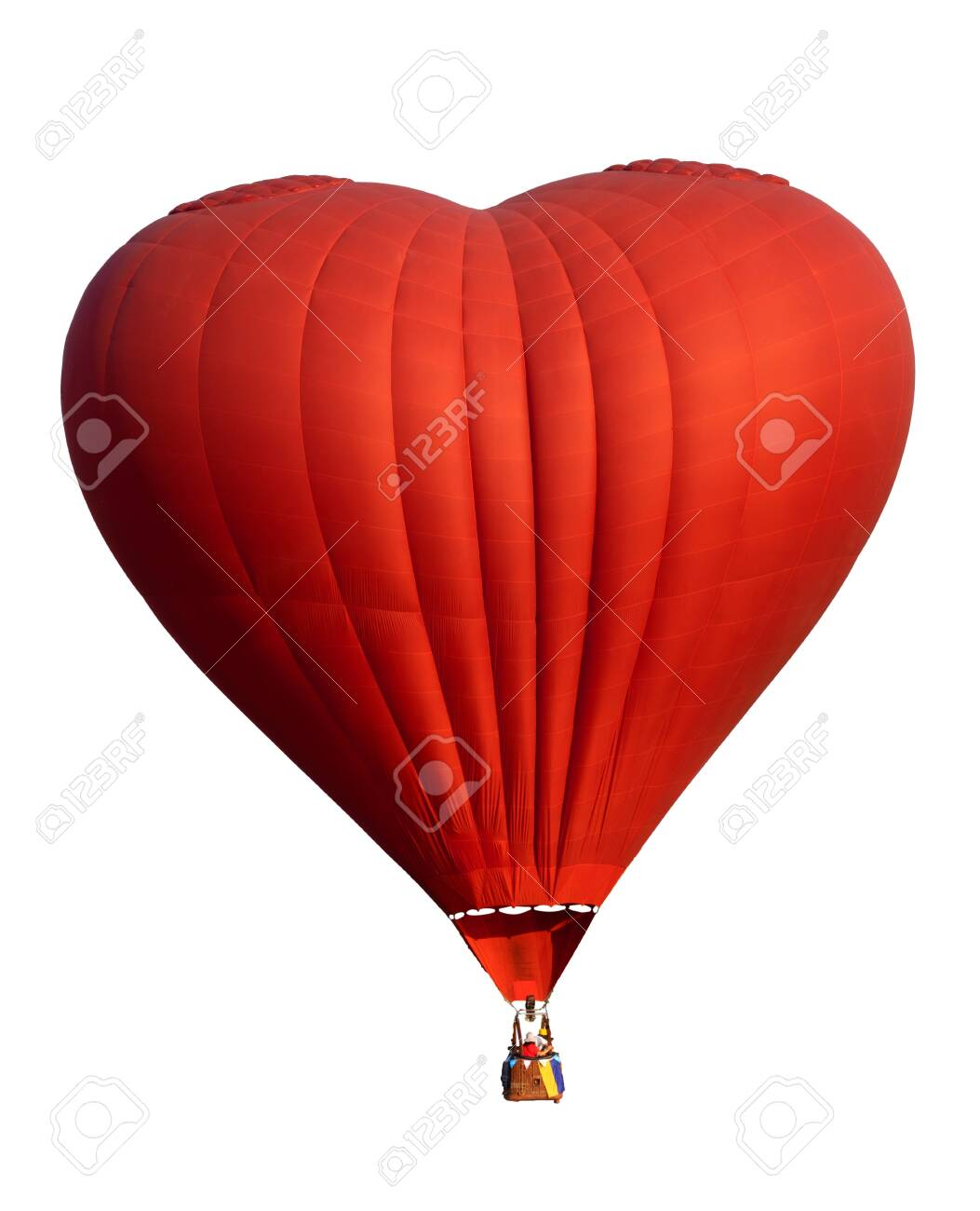 Red hot air balloon in heart shape isolate on white. Symbol of love and valentines. Complete with clipping path for object. - 139261528