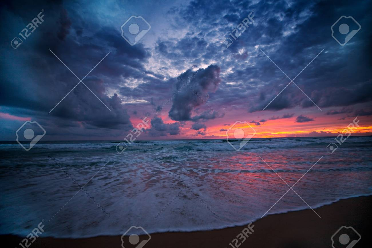 Orange color of sunset light at the karon beach ,Phuket ,Thailand. Stock Photo - 7485744