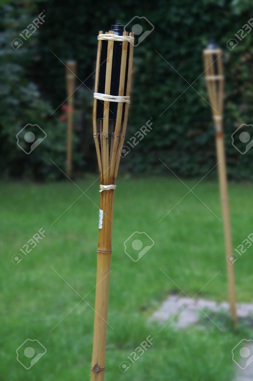 Tall Garden Torches, On Green Grass Stock Photo   763493