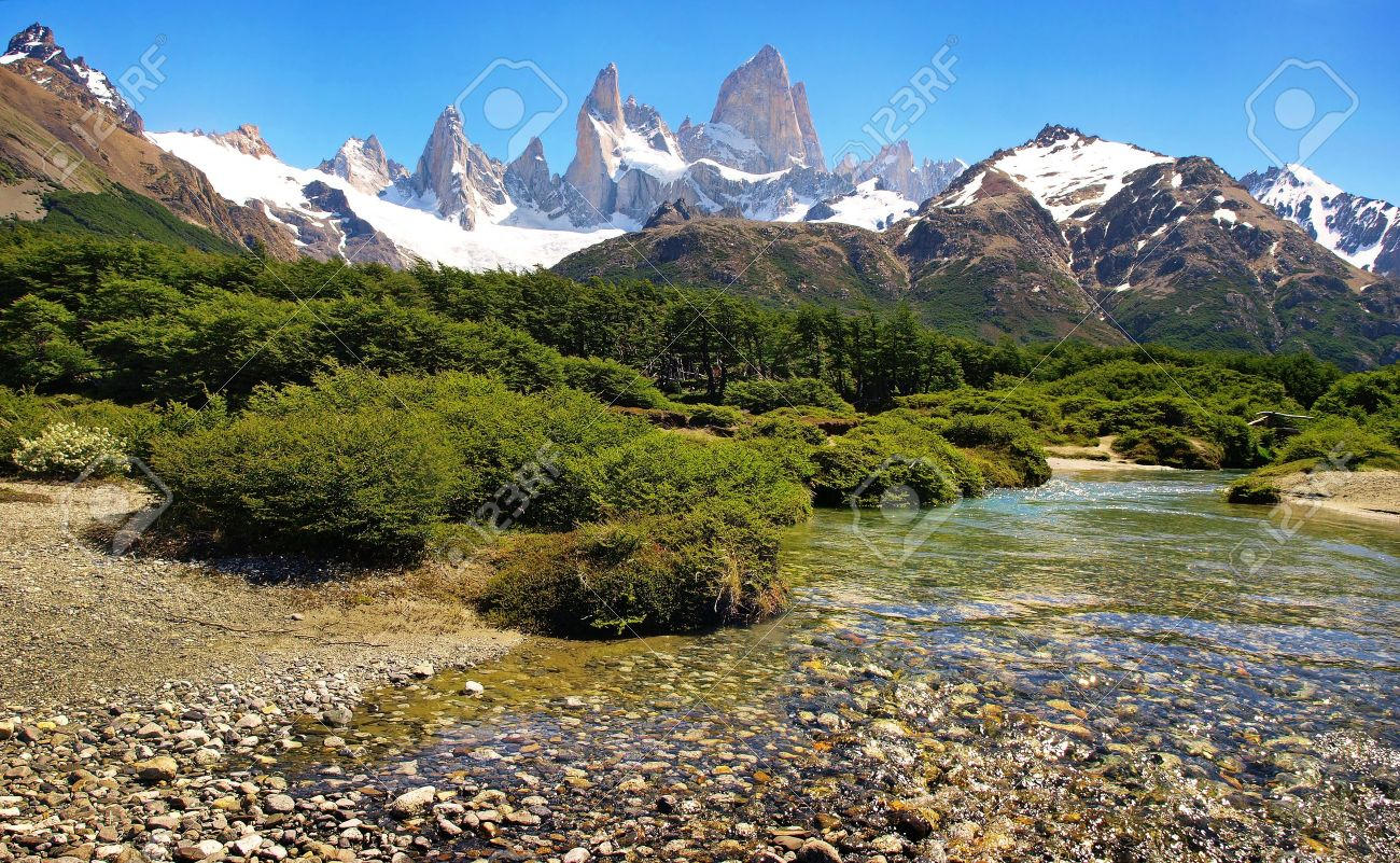 river landscape with mt. fitz roy in the background as seen in argentina. Stock Photo - 9567909